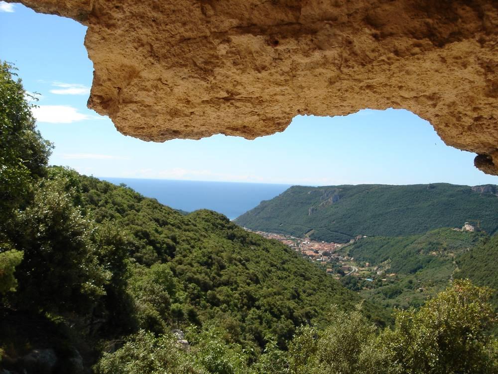 View from a mountain towards the mediterrainean sea and Finalborgo ANLBORGO